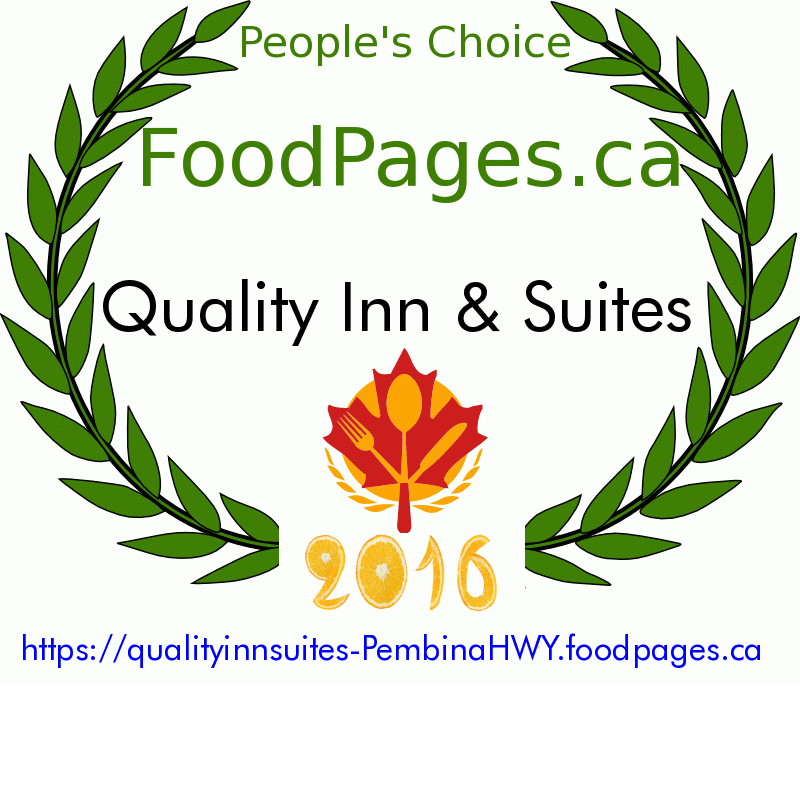 Quality Inn & Suites FoodPages.ca 2016 Award Winner
